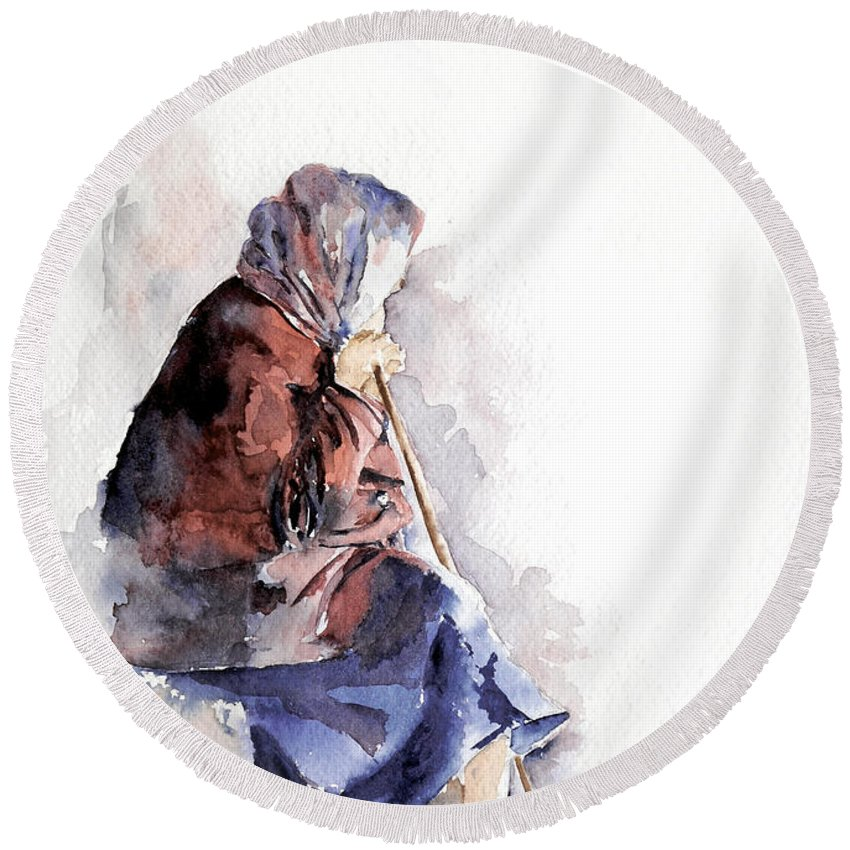 Stephie Butler Round Beach Towel featuring the painting Time To Reflect by Stephie Butler