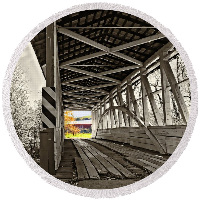 Turner's Covered Bridge Round Beach Towel featuring the photograph Time Travel 2 by Steve Harrington