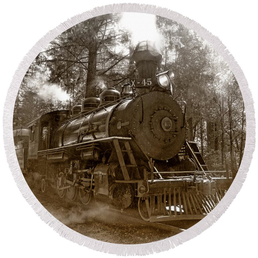 Locomotive Round Beach Towel featuring the photograph Time Traveler by Donna Blackhall