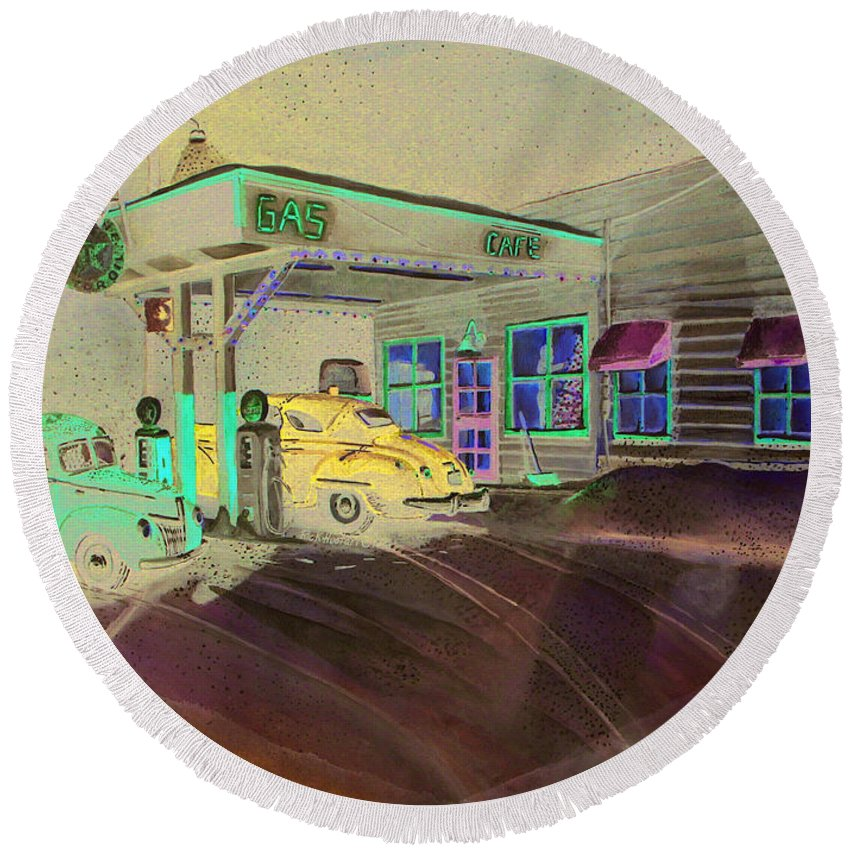 Rick Huotari Round Beach Towel featuring the painting Times Past Gas Station by Rick Huotari
