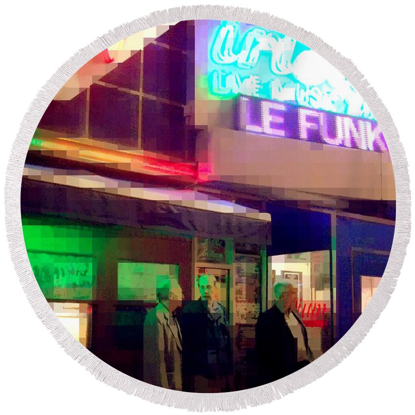 Le Funk Round Beach Towel featuring the photograph Times Square At Night - Le Funk by Miriam Danar
