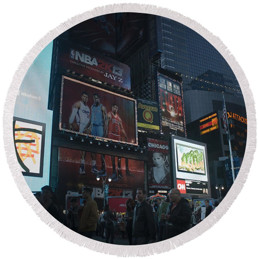 Times Square Round Beach Towel featuring the photograph Times Square At Night by Teresa Mucha