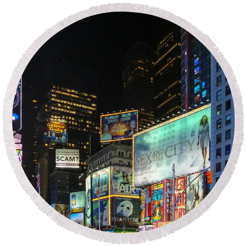 New York Round Beach Towel featuring the photograph Times Square In 2010 by Alexandre Martins