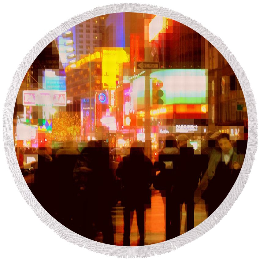 Night Round Beach Towel featuring the photograph Times Square - The Lights Of New York by Miriam Danar