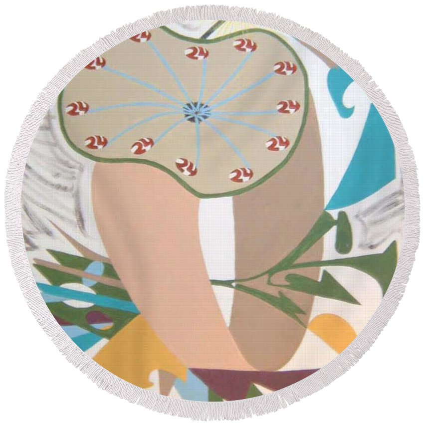 Abstract Round Beach Towel featuring the painting Times up by Dean Stephens