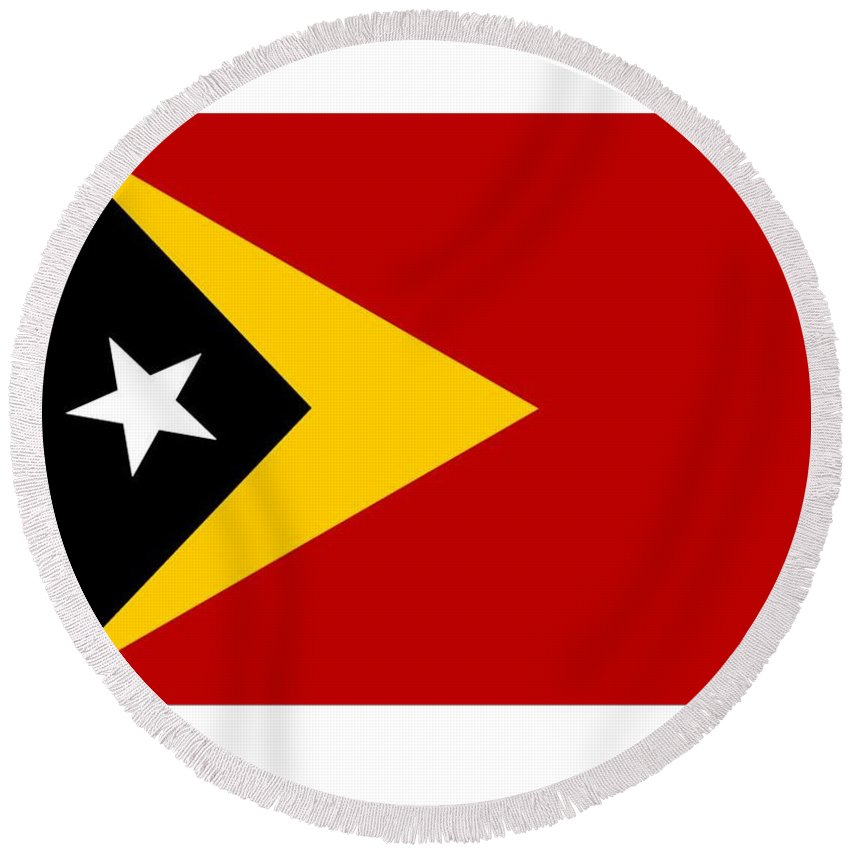 Timor-leste Round Beach Towel featuring the digital art Timor-leste Flag by Frederick Holiday