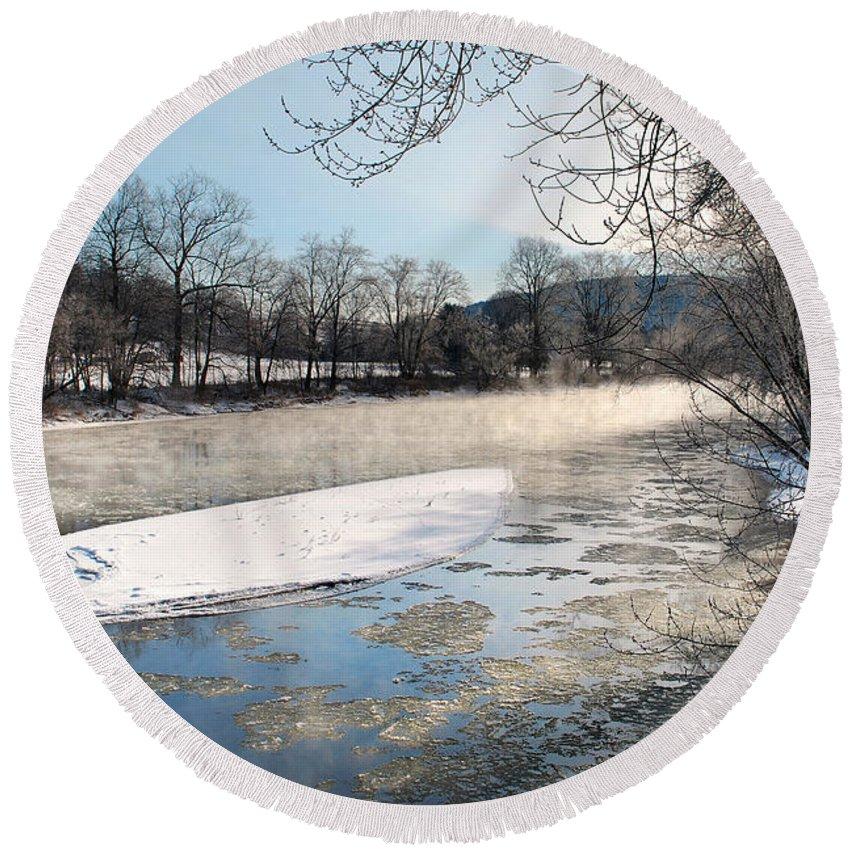 Tioughnioga River Round Beach Towel featuring the photograph Tioughnioga River Landscape by Christina Rollo
