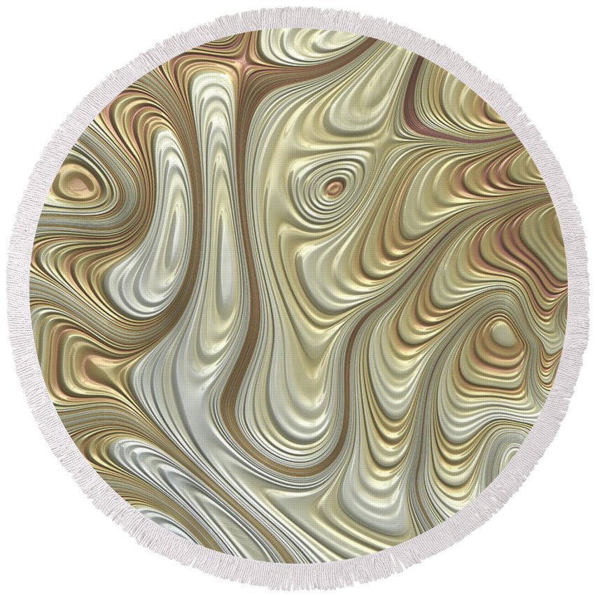 Titanium Abstract Round Beach Towel featuring the digital art Titanium Flow by John Edwards