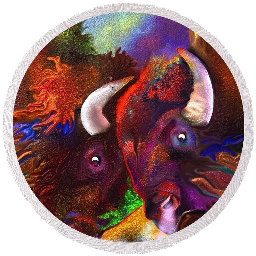 Bison Round Beach Towel featuring the painting Titans by Marie Clark