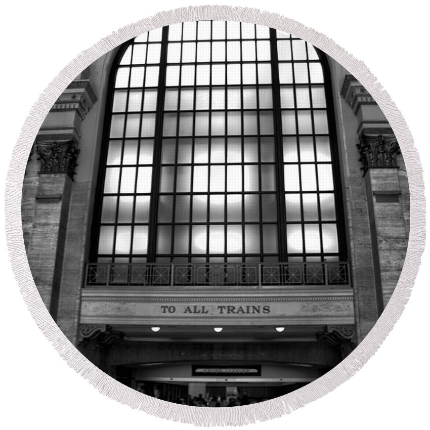 Union Station Round Beach Towel featuring the photograph To All Trains Chicago Union Station by Thomas Woolworth