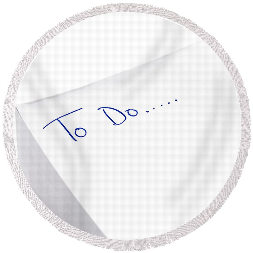 To Do List Round Beach Towel featuring the photograph To Do List Written On Post It Note Pad by Lee Avison