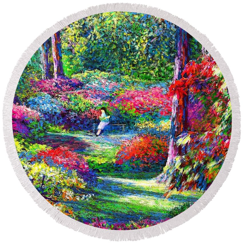 Garden Round Beach Towel featuring the painting To Read And Dream by Jane Small