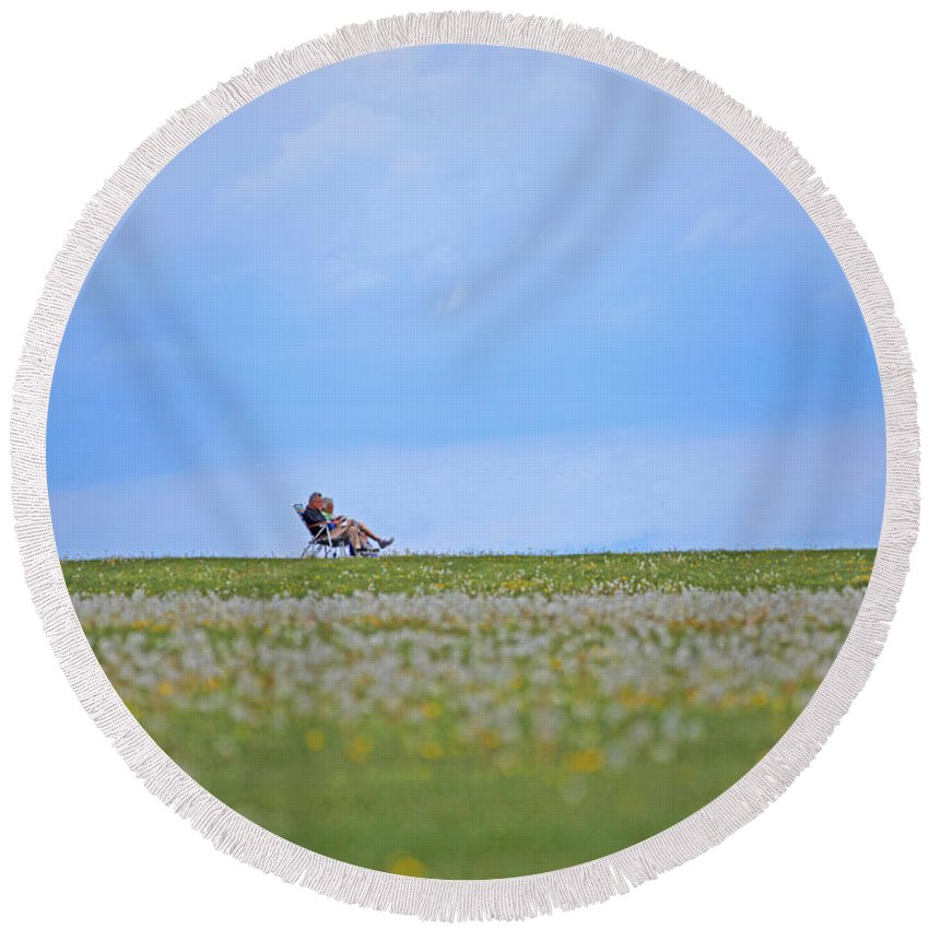 Landscape Round Beach Towel featuring the photograph To Relax by Karol Livote