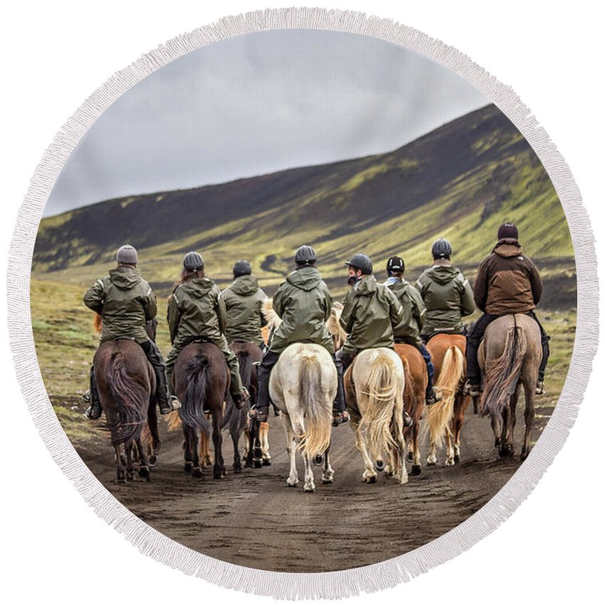 Landmannalaugar Round Beach Towel featuring the photograph To Ride The Paths Of Legions Unknown by Evelina Kremsdorf