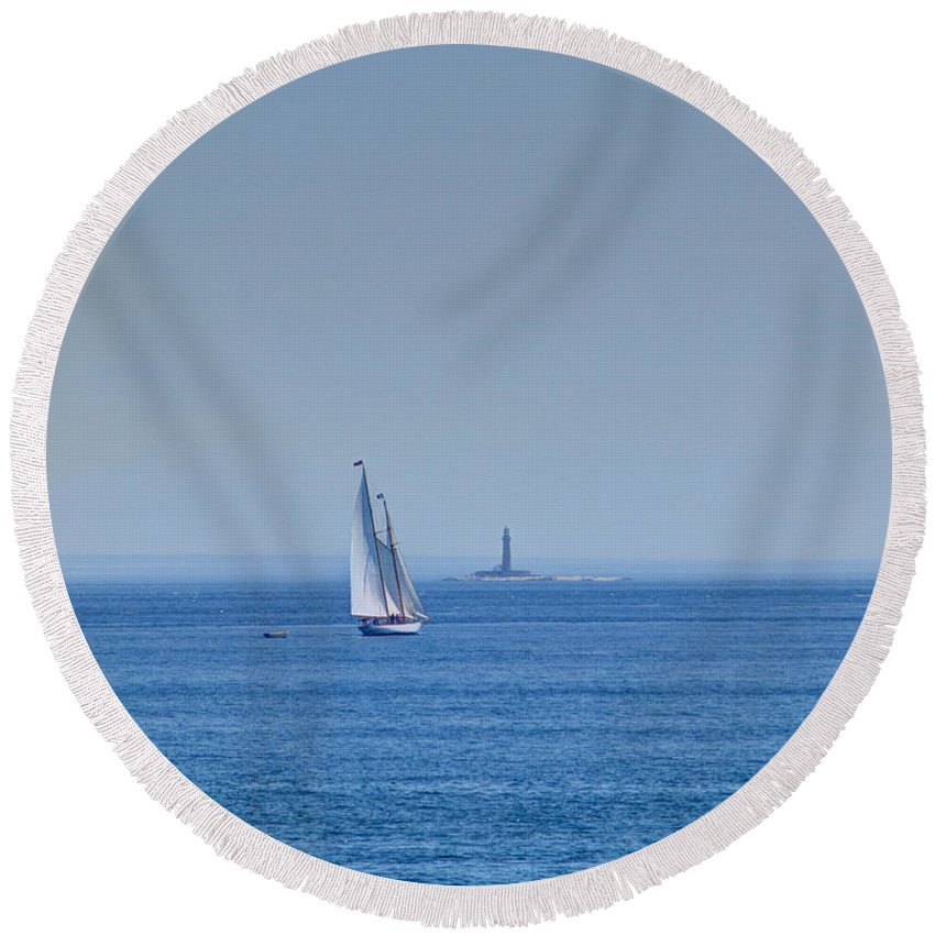 Joshua House Photography Round Beach Towel featuring the photograph To That Far Shore by Joshua House