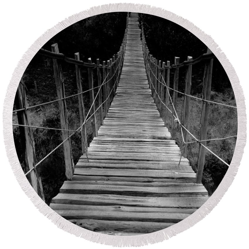 Bridge Round Beach Towel featuring the photograph To The Other Side by Edgar Laureano