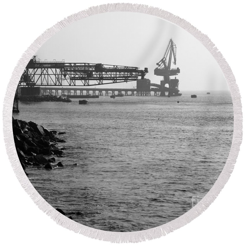 Industry Round Beach Towel featuring the photograph Port Of Tocopilla Chile by James Brunker