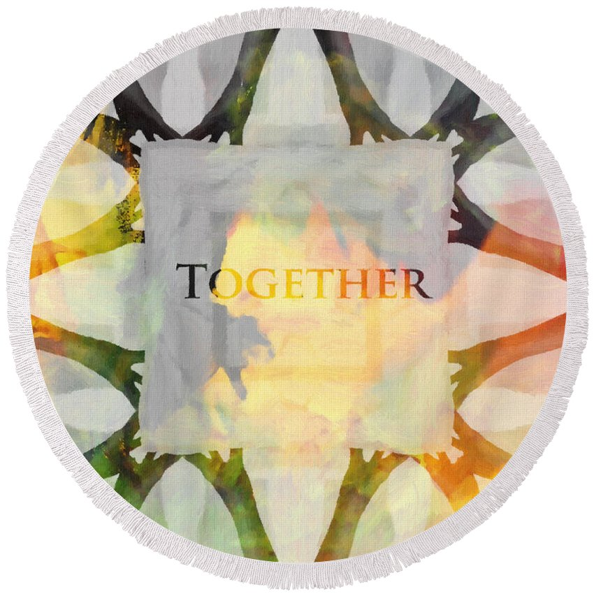 Together Hand Hands Arm Arms Painting Color Colorful Expressionism Symbol Round Beach Towel featuring the painting Together 2 by Steve K