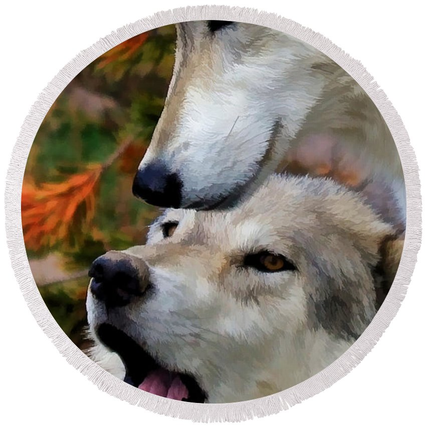 Wolves Round Beach Towel featuring the photograph Together At Last II by Athena Mckinzie