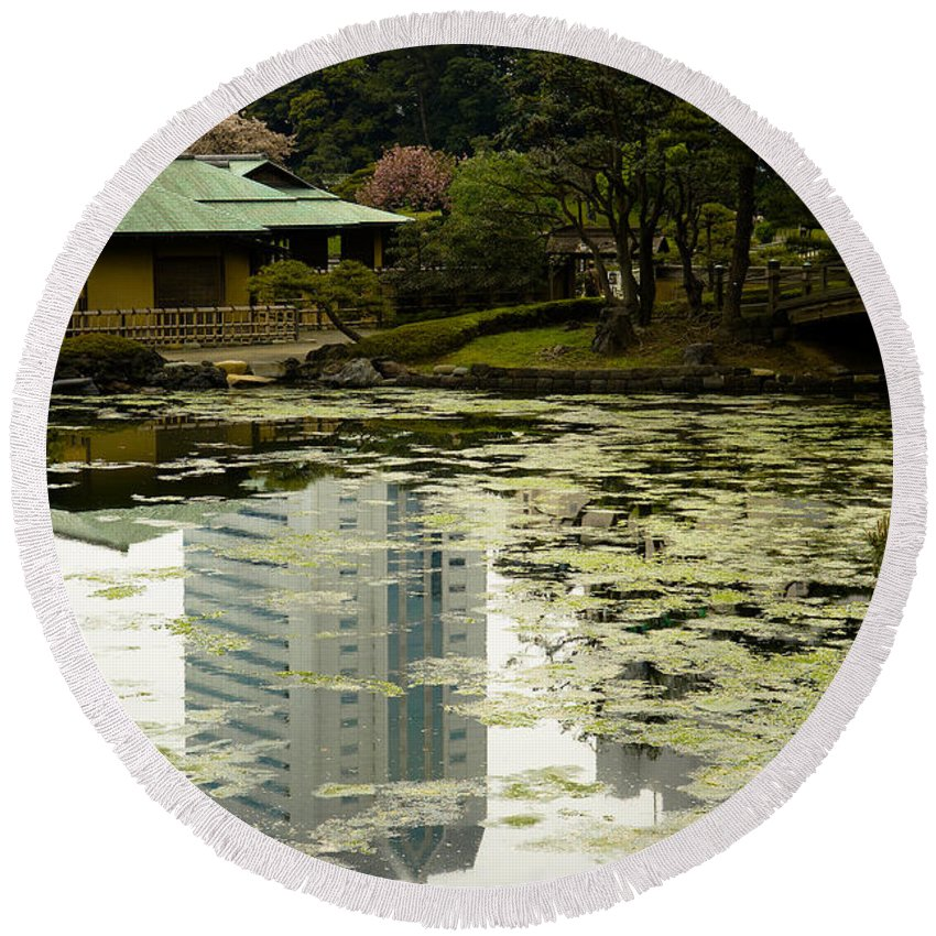Green Round Beach Towel featuring the photograph Tokyo Reflection by Sebastian Musial
