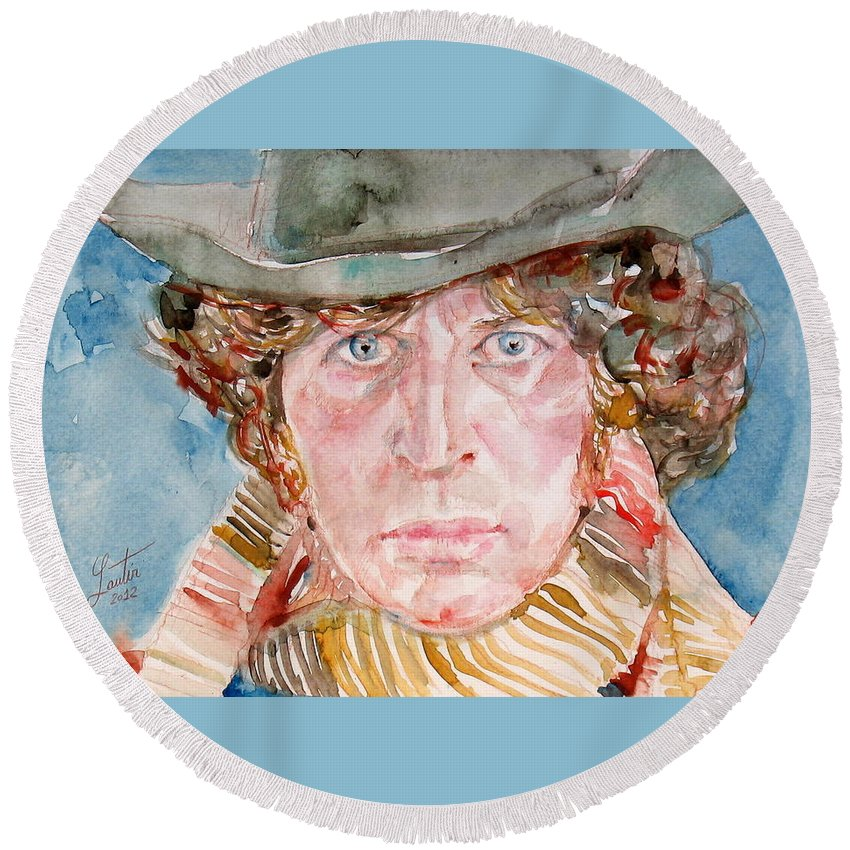 Tom Round Beach Towel featuring the painting Tom Baker Doctor Who Watercolor Portrait by Fabrizio Cassetta