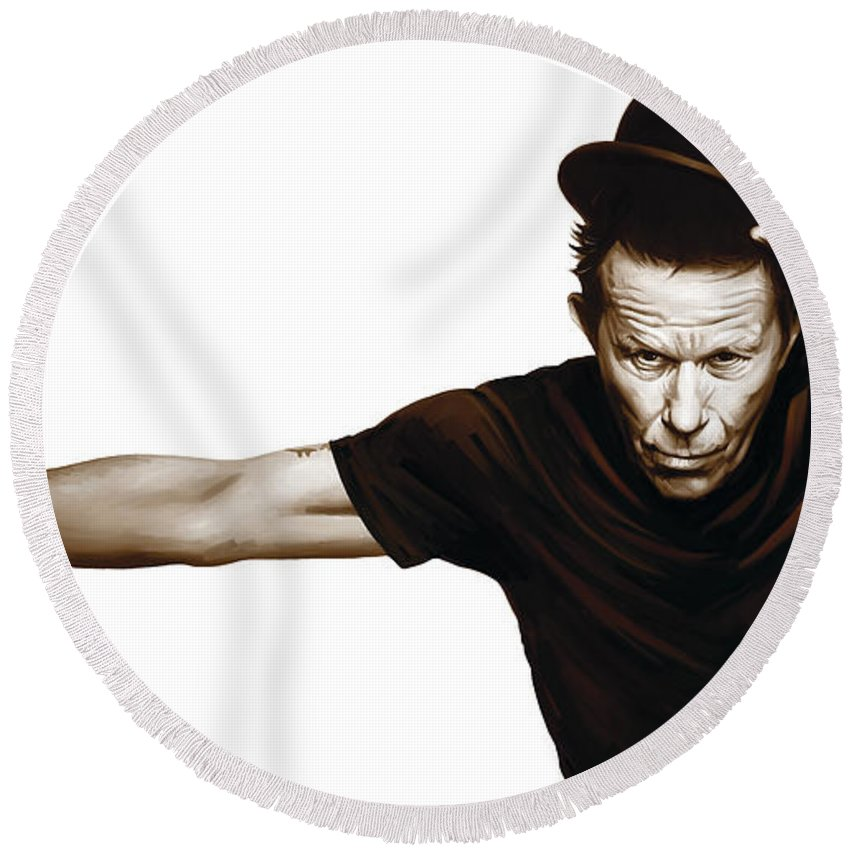 Tom Waits Paintings Round Beach Towel featuring the mixed media Tom Waits Artwork 4 by Sheraz A