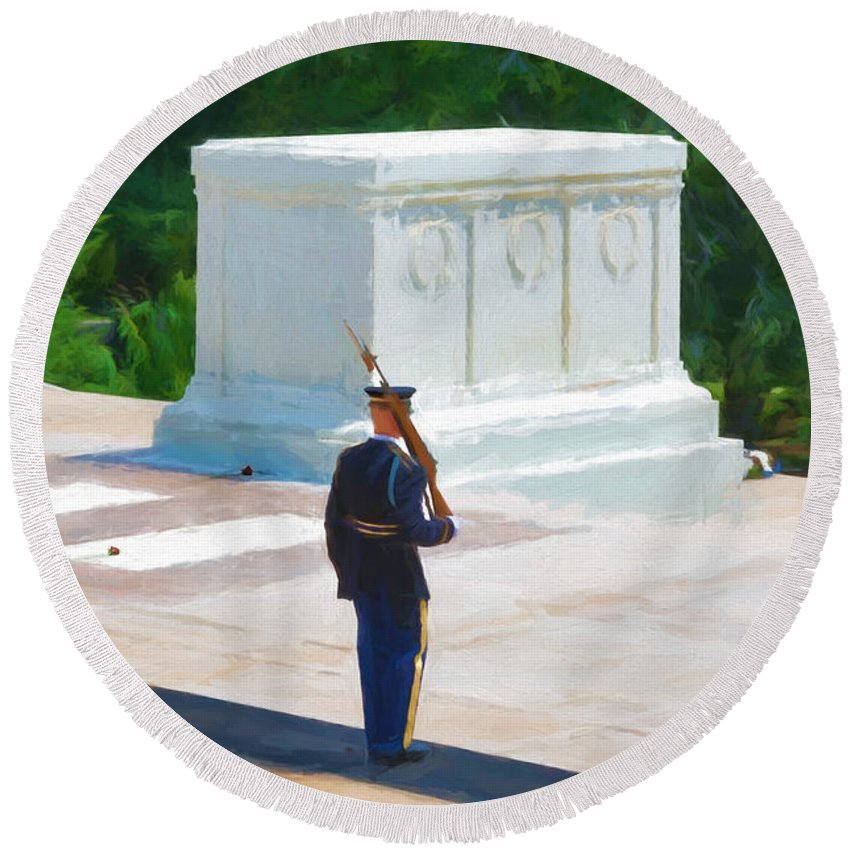 American Round Beach Towel featuring the photograph Tomb Of The Unknown Soldier by Boss Photographic