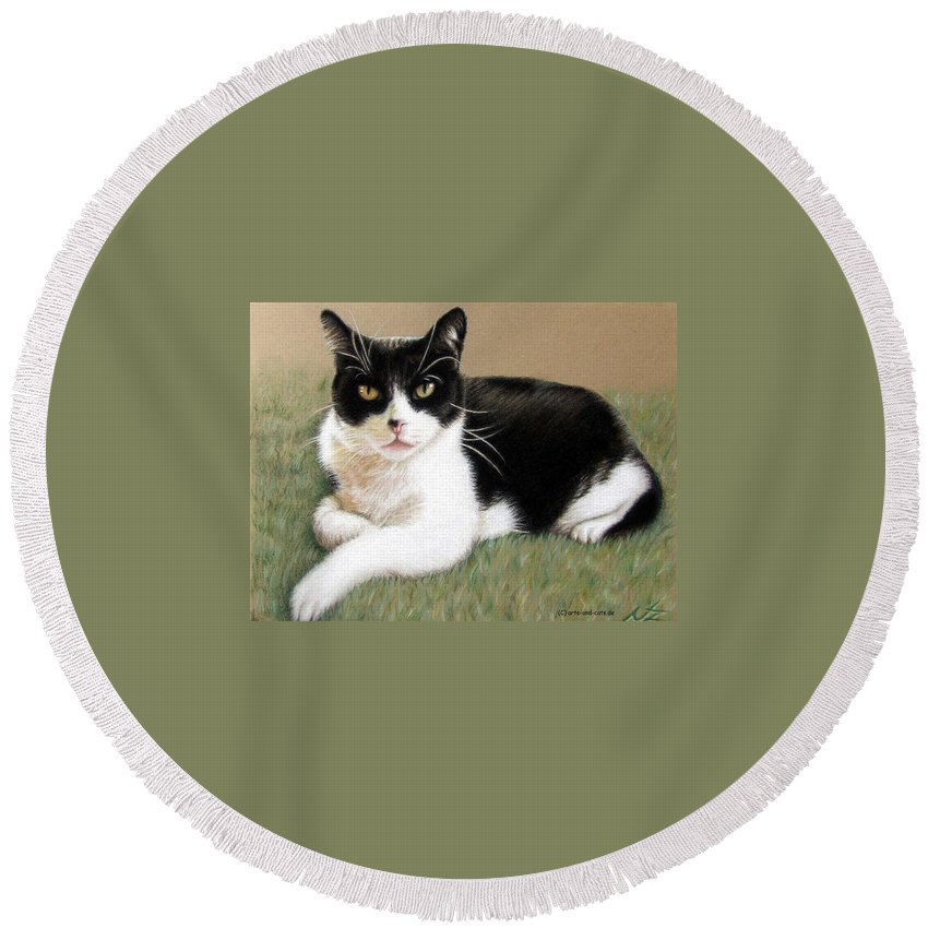 Cat Round Beach Towel featuring the pastel Tomcat Baloo by Nicole Zeug