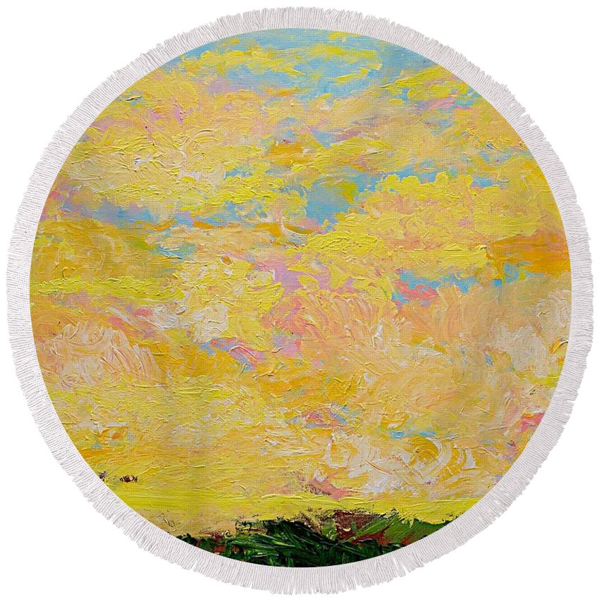Colorful Round Beach Towel featuring the painting Too Late Now by Allan P Friedlander
