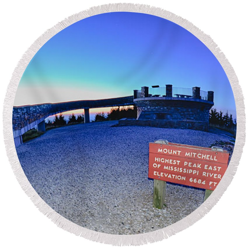 State Round Beach Towel featuring the photograph Top Of Mount Mitchell After Sunset by Alex Grichenko