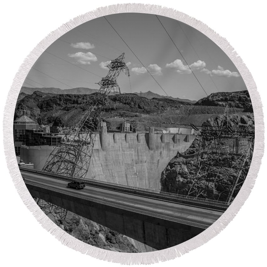 Nevada Round Beach Towel featuring the photograph Top Of The Dam by Angus Hooper Iii