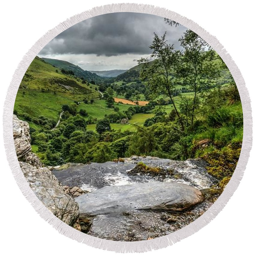 Pistyll Rhaeadr Waterfall Round Beach Towel featuring the photograph Top Of The Waterfall by Mickey At Rawshutterbug