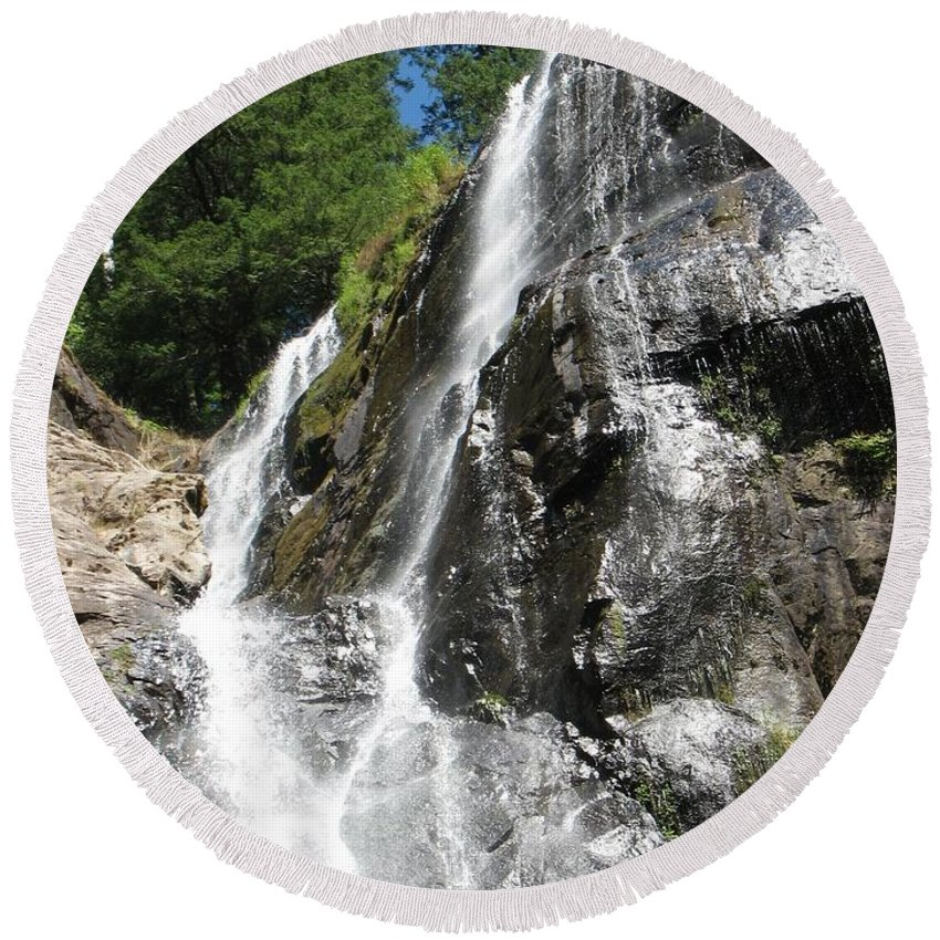 Water Round Beach Towel featuring the photograph Top Part Of Silver Falls by Teri Schuster
