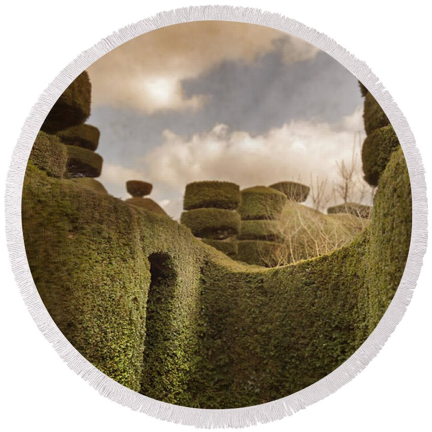 Garden Round Beach Towel featuring the photograph Topiary Maze In A Formal Garden by Lee Avison