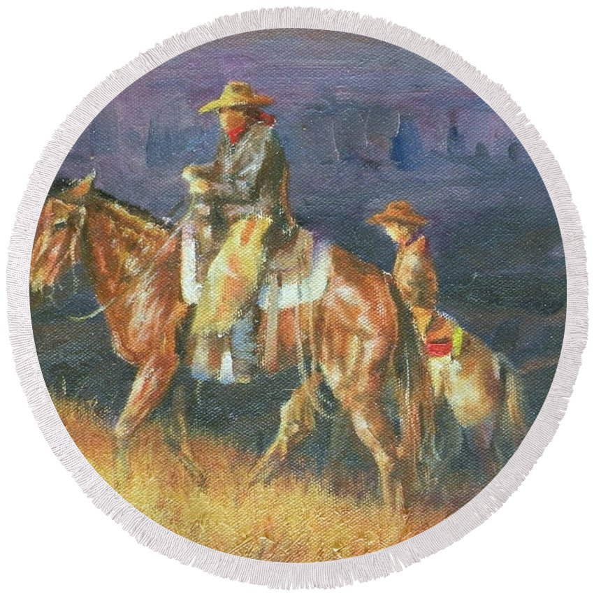 Cowboys Round Beach Towel featuring the painting Topping The Ridge by Mia DeLode