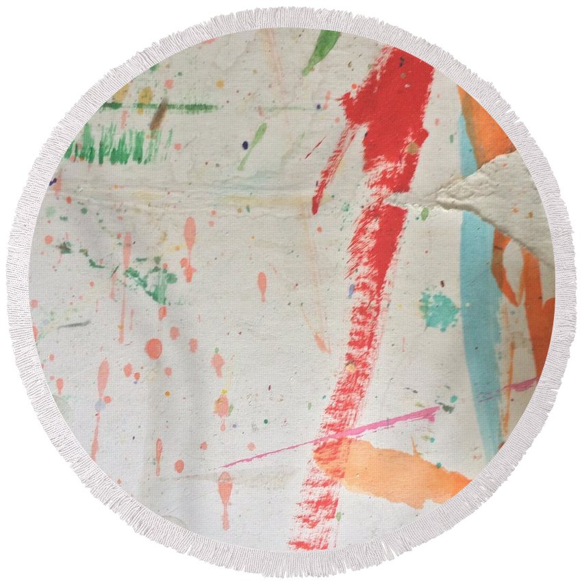 Red Round Beach Towel featuring the painting Torn To Red Line by Robin Maria Pedrero
