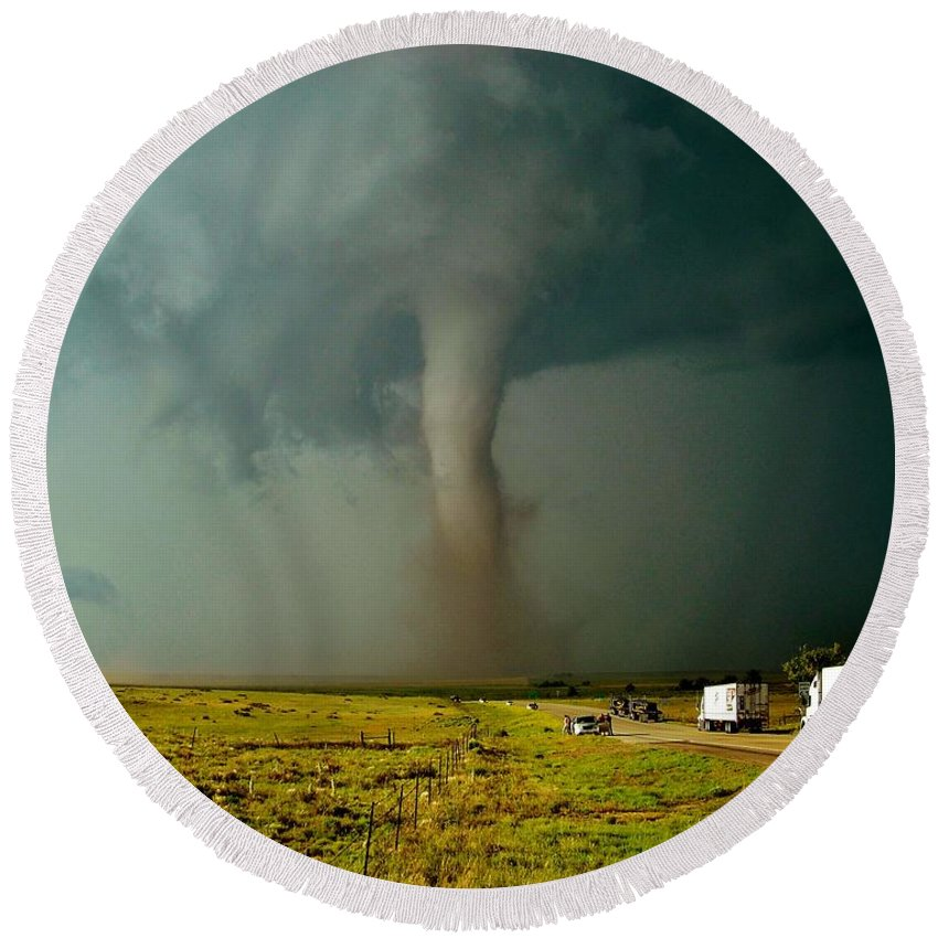 Tornado Round Beach Towel featuring the photograph Tornado Truck Stop II by Ed Sweeney