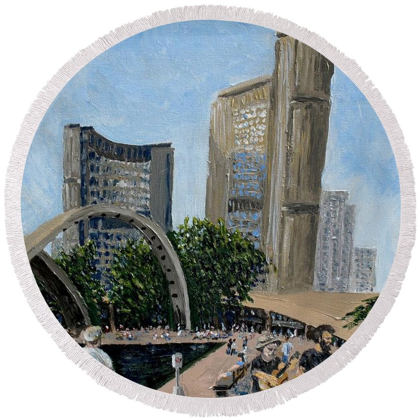 Toronto Round Beach Towel featuring the painting Toronto City Hall by Ian MacDonald