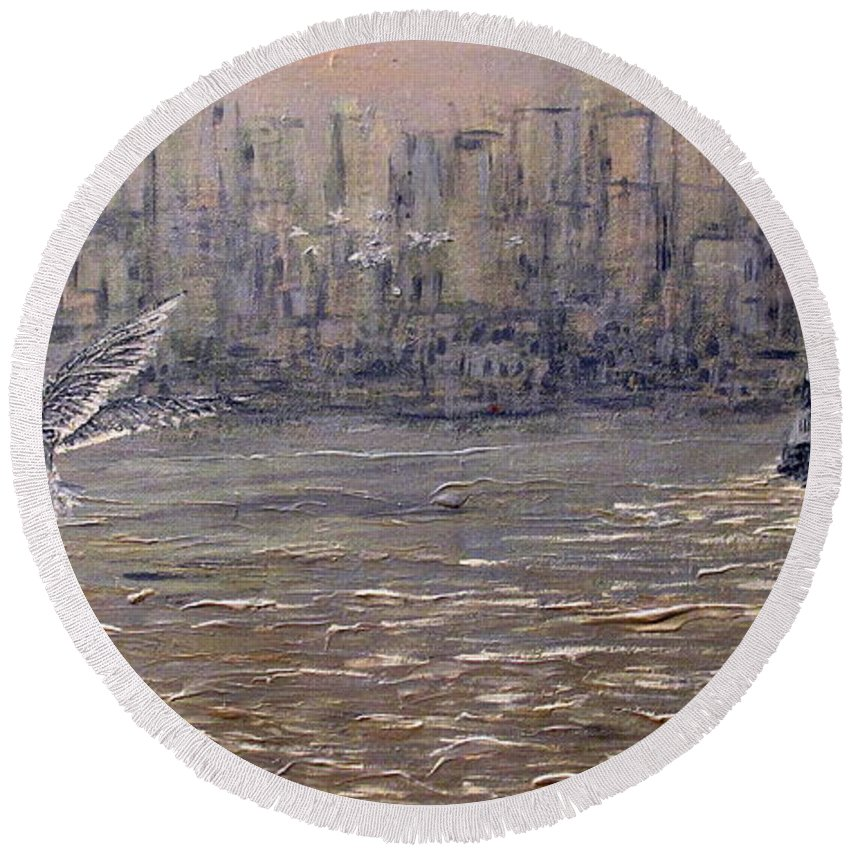 Toronto Round Beach Towel featuring the painting Toronto Harbor Morning by Ian MacDonald