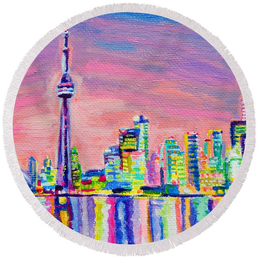 Toronto Round Beach Towel featuring the painting Toronto Skyline by Morgan Ralston