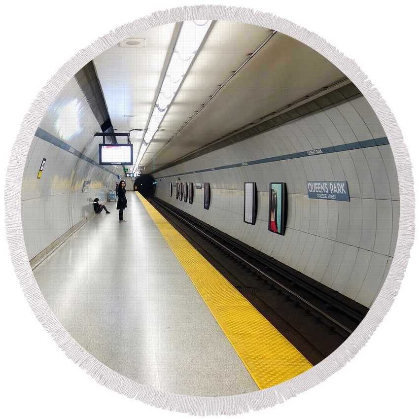 Bright Round Beach Towel featuring the photograph Toronto Subway Platform by Valentino Visentini