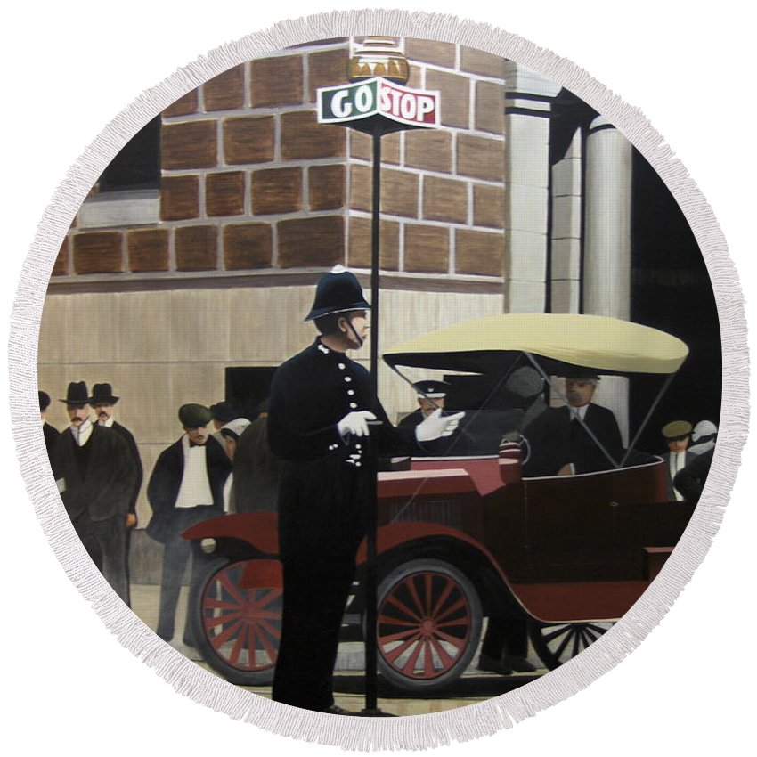 Streetscapes Round Beach Towel featuring the painting Toronto Traffic Cop 1912 by Kenneth M Kirsch