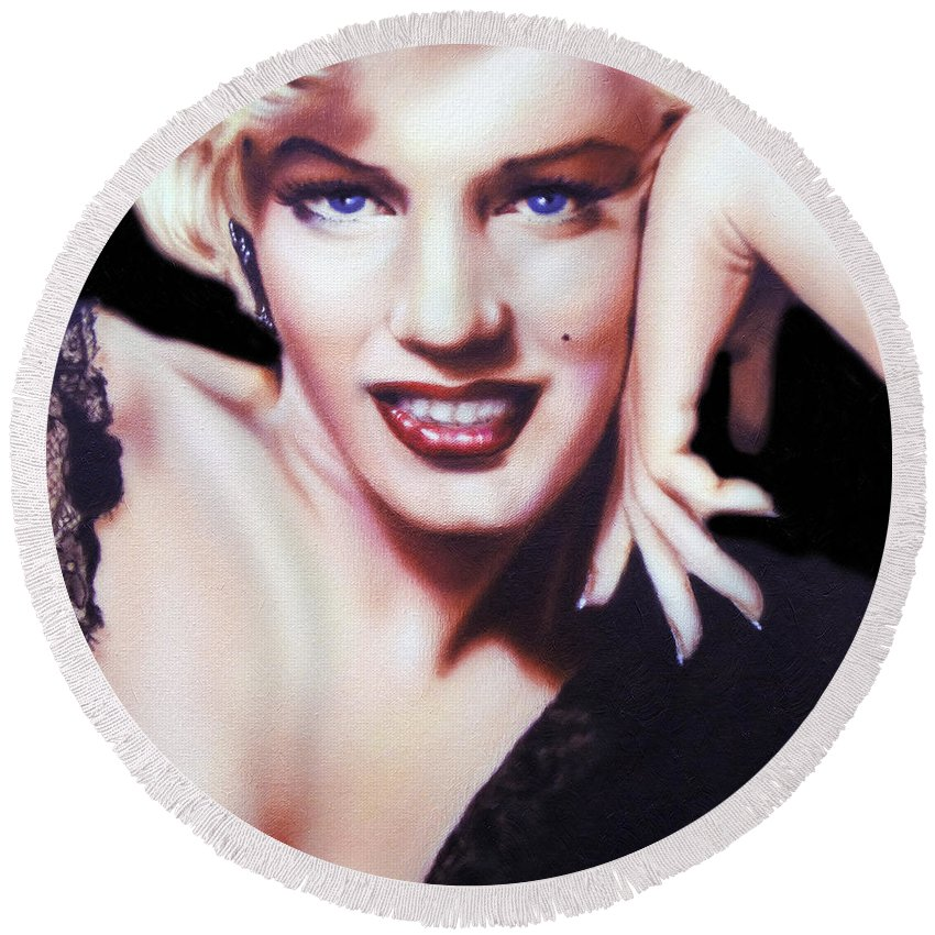 Marilyn Monroe Round Beach Towel featuring the painting Totally Marilyn by Georgiana Romanovna