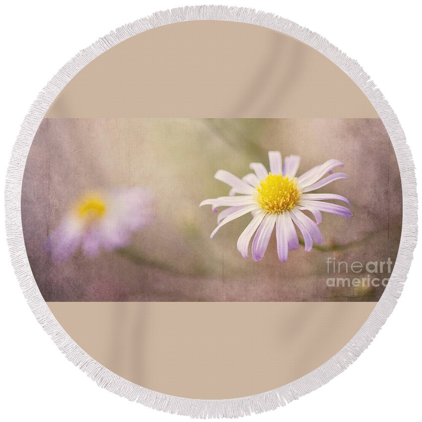 Flowers Round Beach Towel featuring the photograph Touch Of Purple by Pam Holdsworth