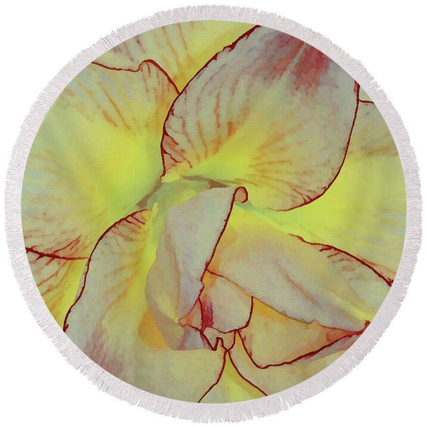 Flower Art Round Beach Towel featuring the photograph Touch Of Red by Deborah Benoit