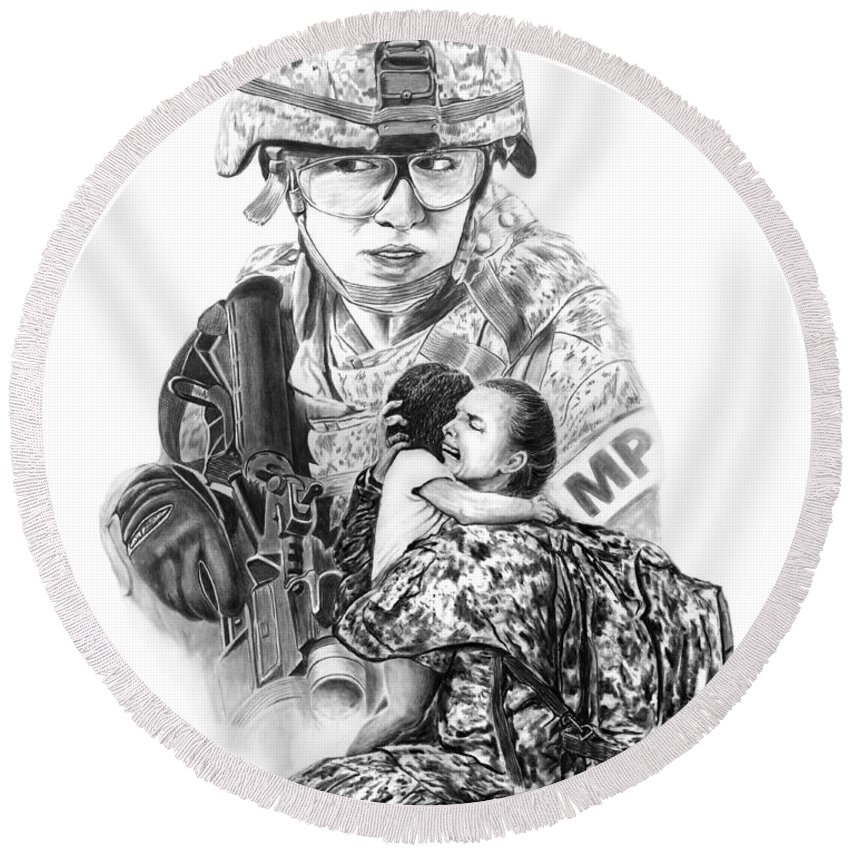 Tour Of Duty - Women In Combat Round Beach Towel featuring the drawing Tour Of Duty - Women In Combat Le by Peter Piatt