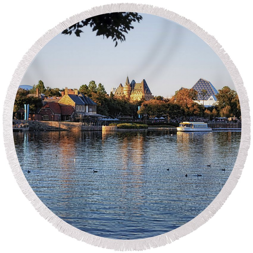 Epcot Round Beach Towel featuring the photograph Touring On The World Showcase Lagoon Walt Disney World by Thomas Woolworth