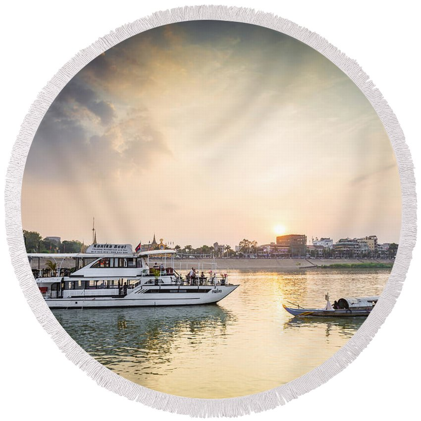 Boat Round Beach Towel featuring the photograph Tourist Boat On Sunset Cruise In Phnom Penh Cambodia River by Jacek Malipan