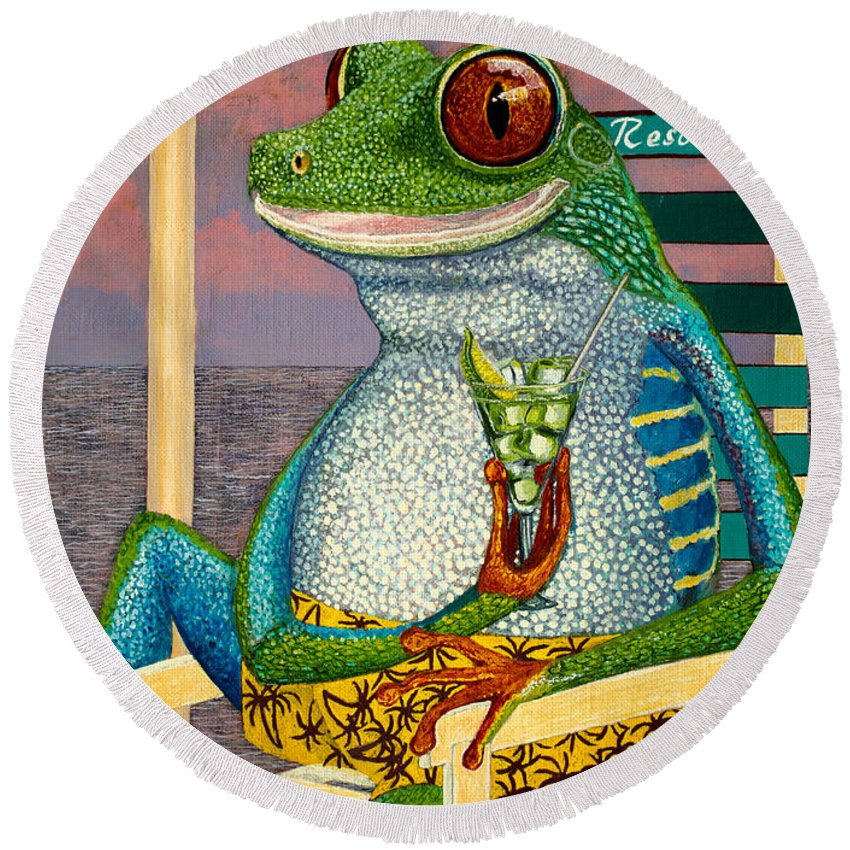 Red Eyed Round Beach Towel featuring the painting Tourist Tree Frog Oil Painting 10x12in On Liner Canvas Panel  by Manuel Lopez