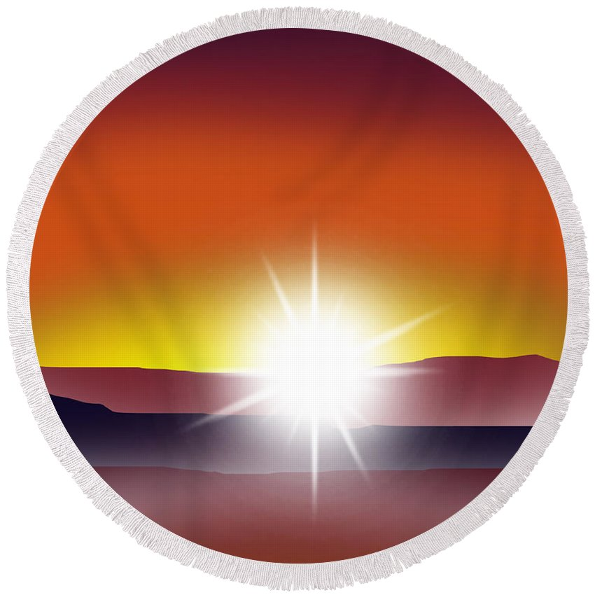 Sunset Round Beach Towel featuring the digital art Toward The Light 2 Of 3 by Peter Stevenson